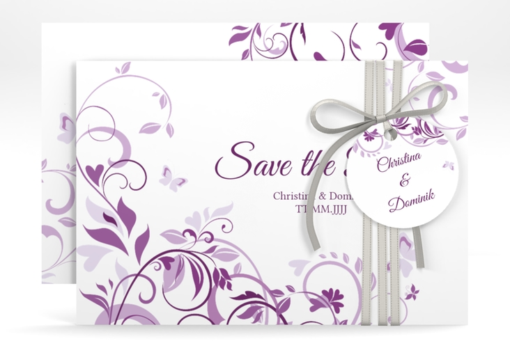 "Save the Date-Karte ""Lilly"" A6 quer lila"