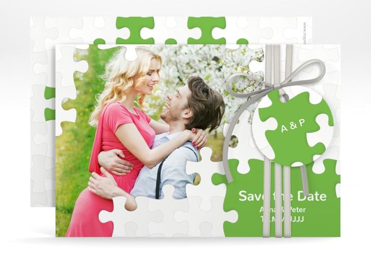 "Save the Date-Karte Hochzeit ""Puzzle"" A6 quer"