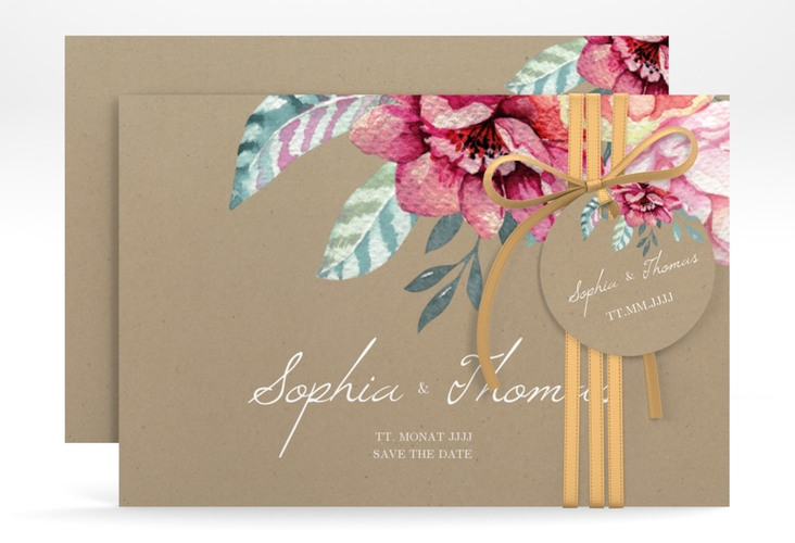 "Save the Date-Karte ""Blooming"" A6 quer braun"