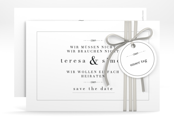 "Save the Date-Karte ""Manorial"" A6 quer weiss"