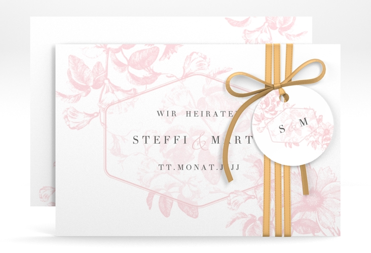 "Save the Date-Karte ""Magnificent"" A6 quer rosa"