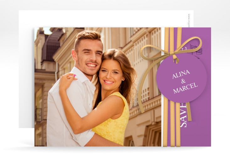 "Save the Date-Karte ""Classic"" A6 quer lila"