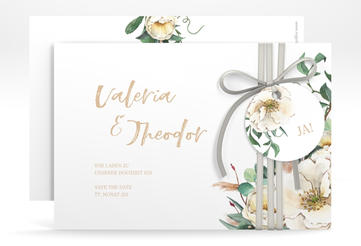 """Save the Date-Karte """"Ivory"""" A6 quer weiss"""