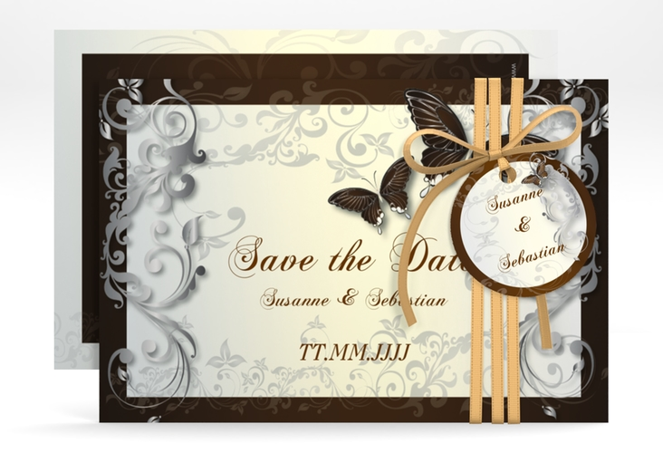 "Save the Date-Karte Hochzeit ""Toulouse"" A6 quer braun"