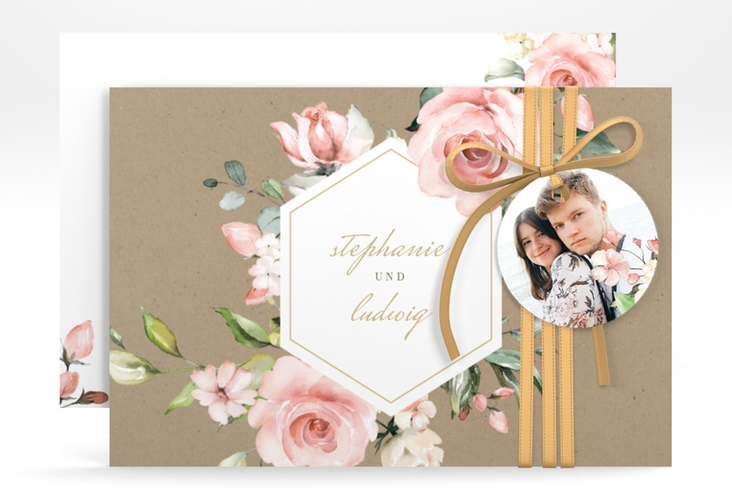 "Save the Date-Karte ""Graceful"" A6 quer braun"
