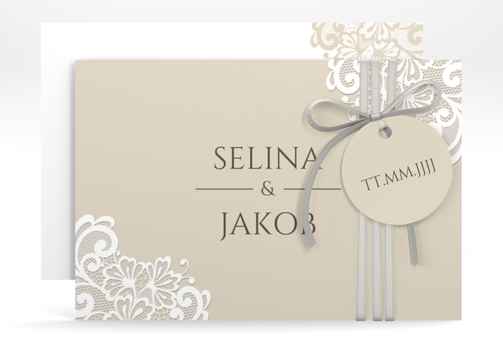 "Save the Date-Karte ""Vintage"" A6 quer beige"