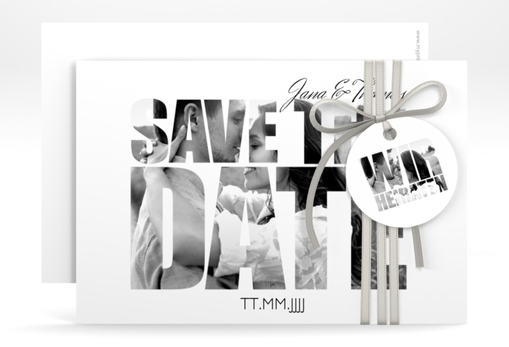 "Save the Date-Karte Hochzeit ""Letters"" A6 quer weiss"