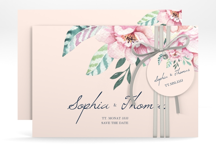 "Save the Date-Karte ""Blooming"" A6 quer rosa"
