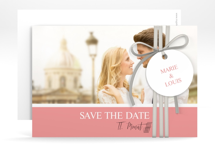"Save the Date-Karte ""Balance"" A6 quer rosa"