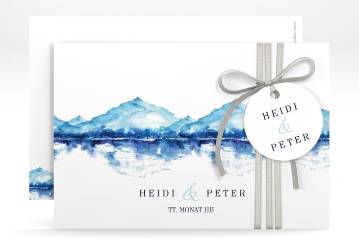 "Save the Date-Karte ""Bergliebe"" A6 quer blau"