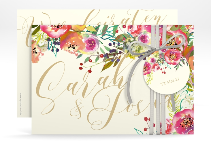 """Save the Date-Karte """"Flowerbomb"""" A6 quer beige"""
