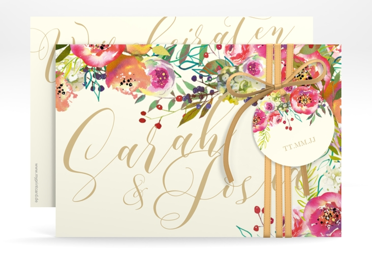 """Save the Date-Karte """"Flowerbomb"""" A6 quer"""