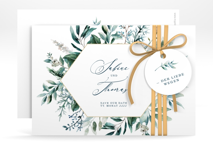 """Save the Date-Karte """"Lumiere"""" A6 quer weiss"""