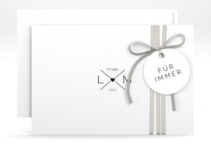 """Save the Date-Karte """"Initials"""" A6 quer"""