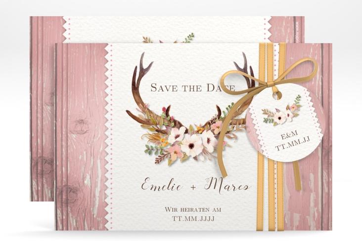 """Save the Date-Karte Hochzeit """"Heimatjuwel"""" A6 quer rosa"""