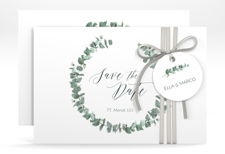 "Save the Date-Karte ""Silverleaf"" A6 quer"
