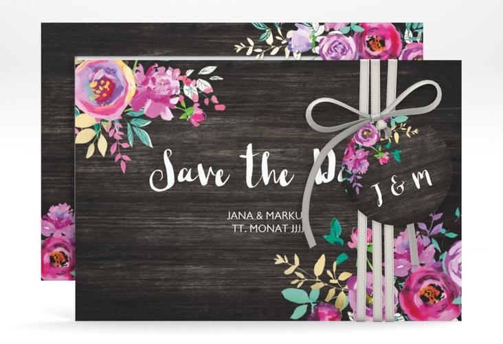"Save the Date-Karte ""Flourish"" A6 quer schwarz"