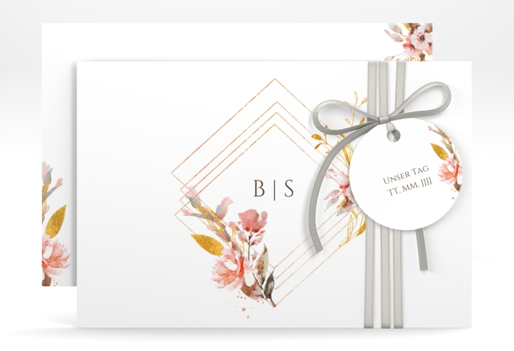 "Save the Date-Karte ""Rosalie"" A6 quer weiss"