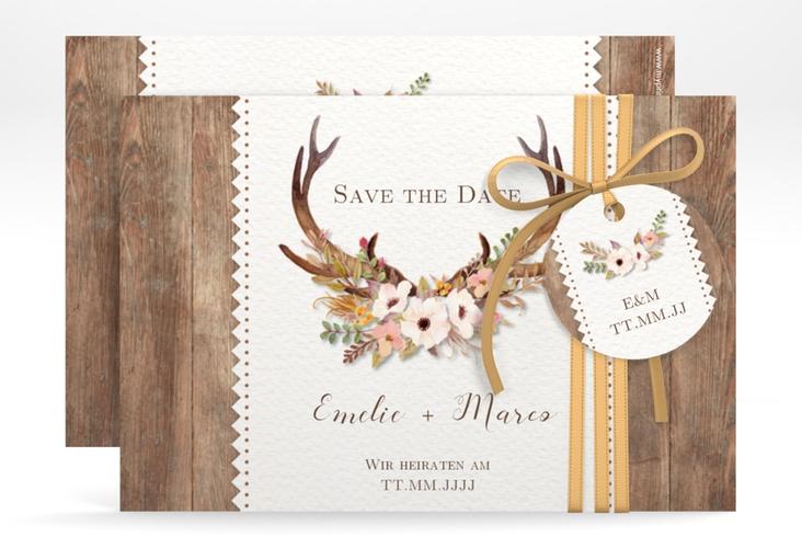 """Save the Date-Karte Hochzeit """"Heimatjuwel"""" A6 quer braun"""