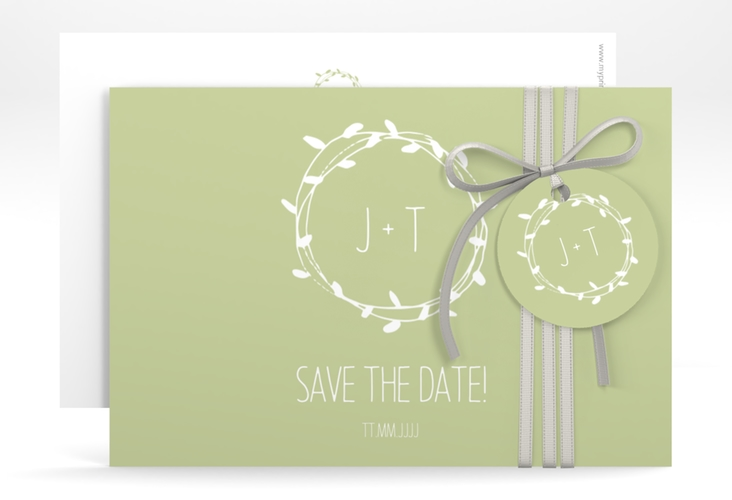 "Save the Date-Karte ""Laurel"" A6 quer gruen"