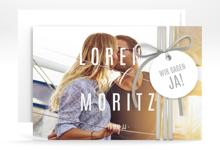 "Save the Date-Karte ""Memory"" A6 quer weiss"