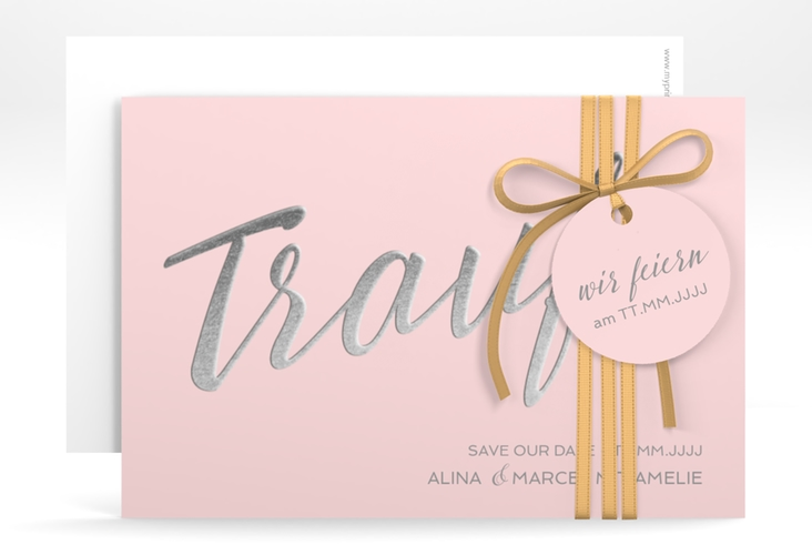 "Save the Date-Karte ""Traufe"" A6 quer rosa"
