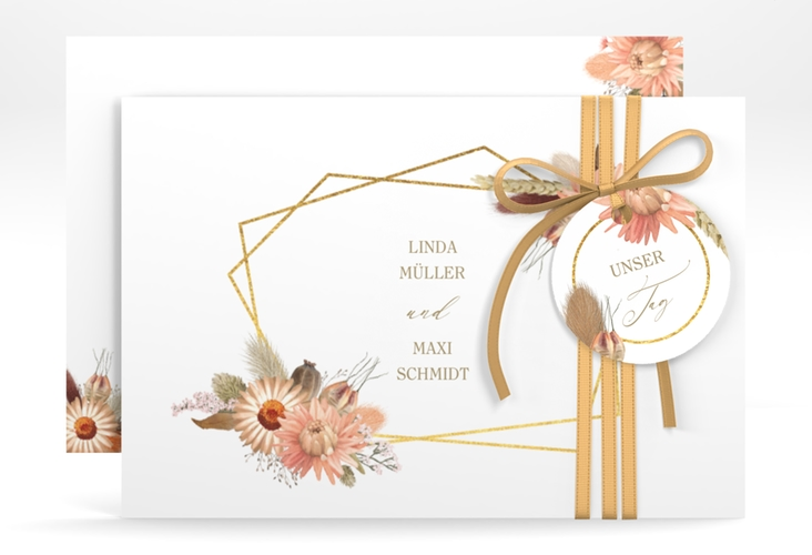 """Save the Date-Karte """"Strohblume"""" A6 quer weiss"""