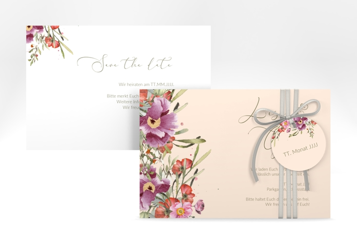 """Save the Date-Karte """"Rosey"""" A6 quer"""
