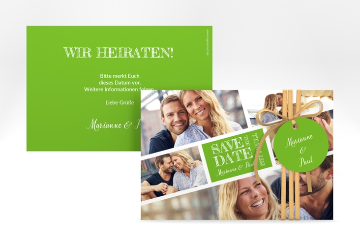 "Save the Date-Karte ""Rise"" A6 quer gruen"