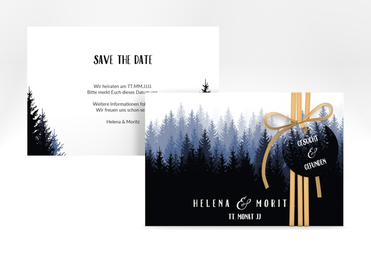 """Save the Date-Karte """"Forest"""" A6 quer blau"""
