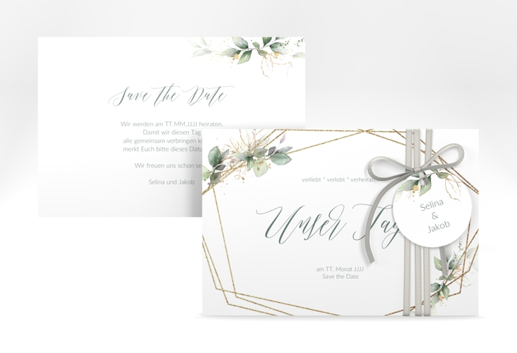 """Save the Date-Karte """"Greenish"""" A6 quer"""