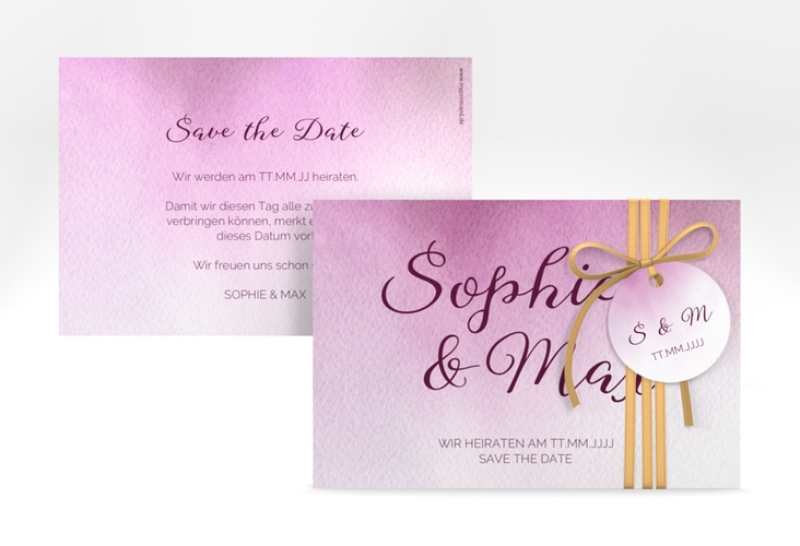"""Save the Date-Karte """"Ombre"""" A6 quer rosa"""