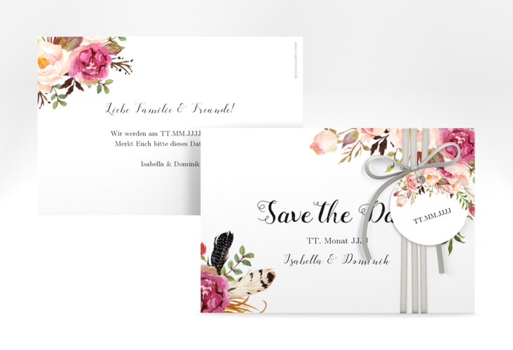 "Save the Date-Karte ""Flowers"" A6 quer weiss"
