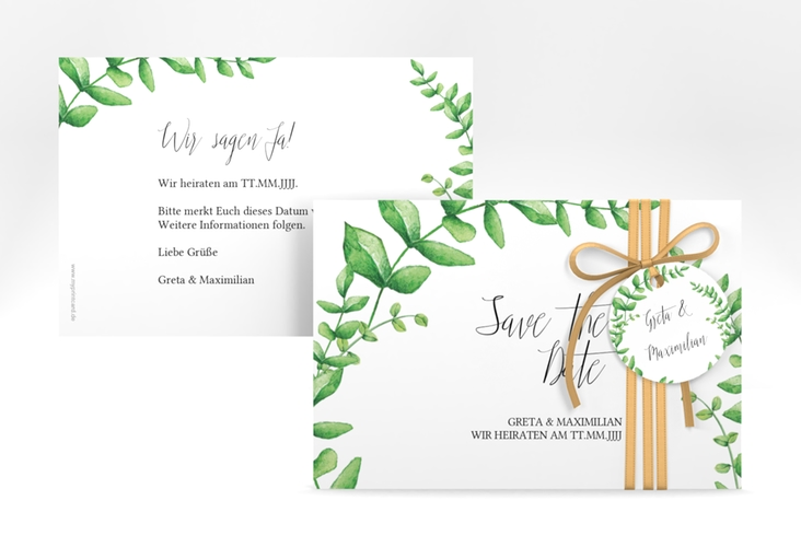 "Save the Date-Karte ""Botanic"" A6 quer weiss"
