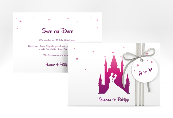 """Save the Date-Karte """"Castle"""" A6 quer pink"""
