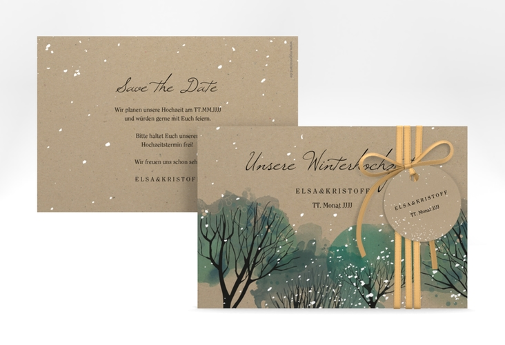 "Save the Date-Karte ""Winterhochzeit"" A6 quer beige"