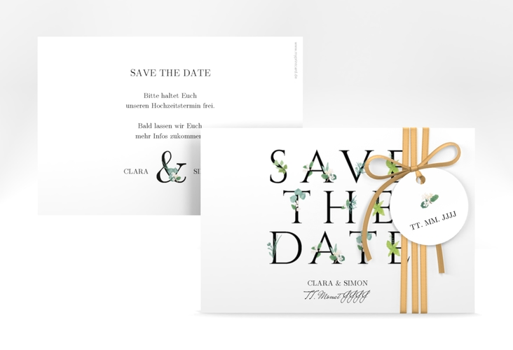 """Save the Date-Karte """"Greens"""" A6 quer"""