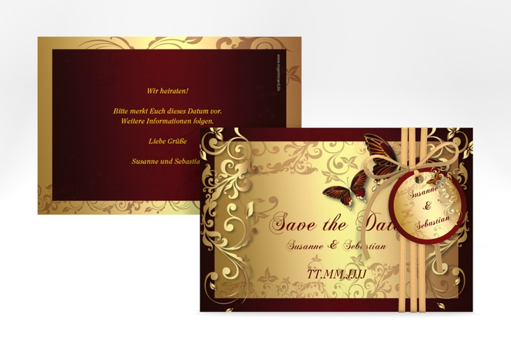 "Save the Date-Karte Hochzeit ""Toulouse"" A6 quer rot"