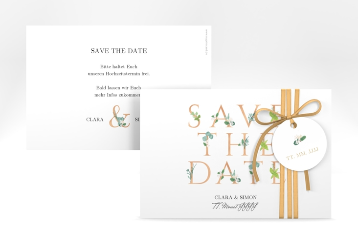 """Save the Date-Karte """"Greens"""" A6 quer gold"""