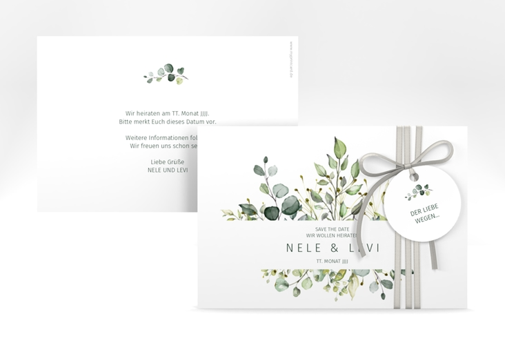 "Save the Date-Karte ""Enchanting"" A6 quer weiss"