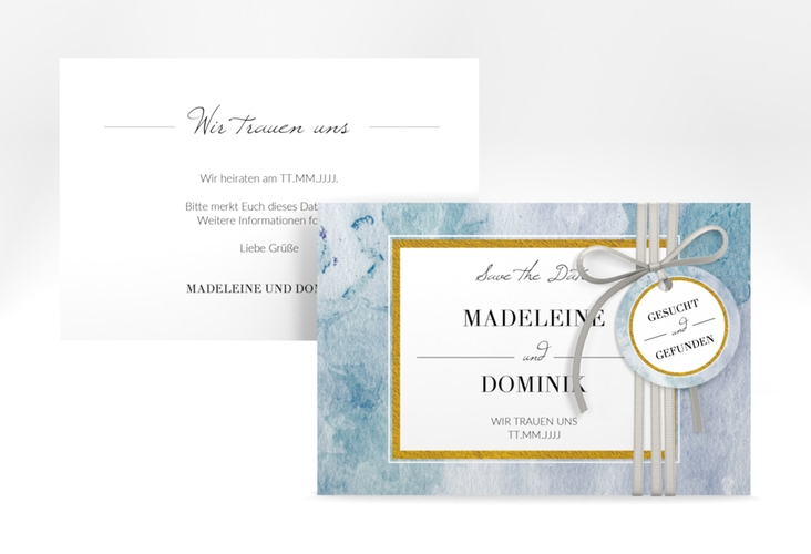 "Save the Date-Karte ""Marble"" A6 quer blau"