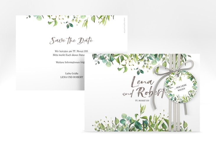 """Save the Date-Karte """"Natural"""" A6 quer weiss"""