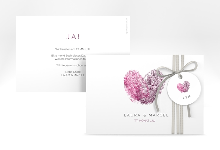 "Save the Date-Karte ""Fingerprint"" A6 quer pink"