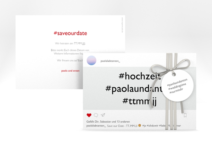 """Save the Date-Karte """"Posting"""" A6 quer weiss"""