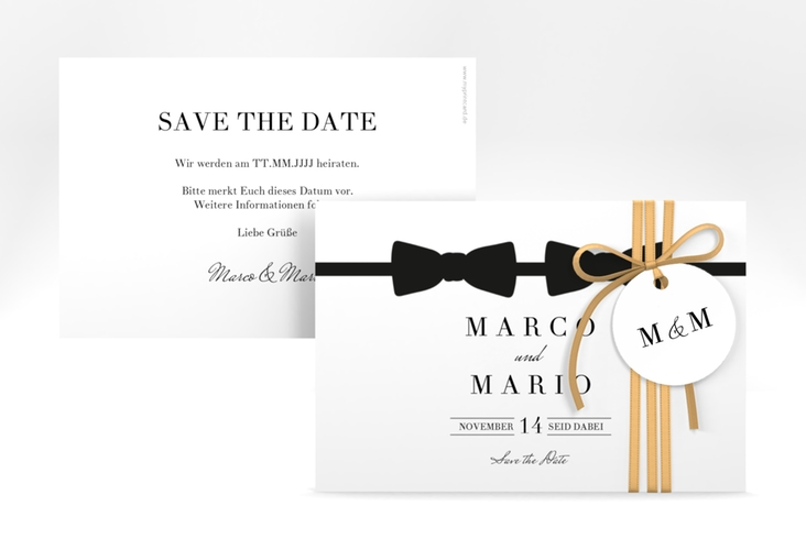 """Save the Date-Karte """"Suits"""" A6 quer schwarz"""