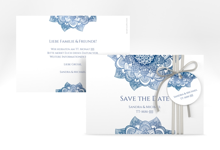 "Save the Date-Karte Hochzeit ""Delight"" A6 quer blau"