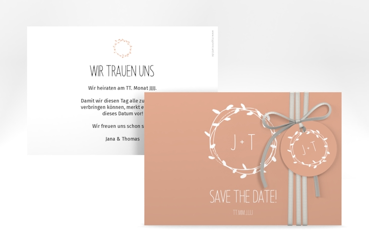 """Save the Date-Karte """"Laurel"""" A6 quer apricot"""