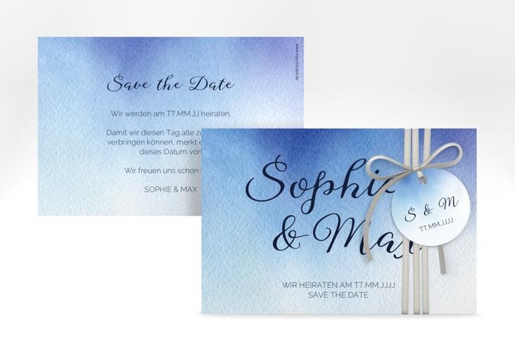 "Save the Date-Karte ""Ombre"" A6 quer blau"