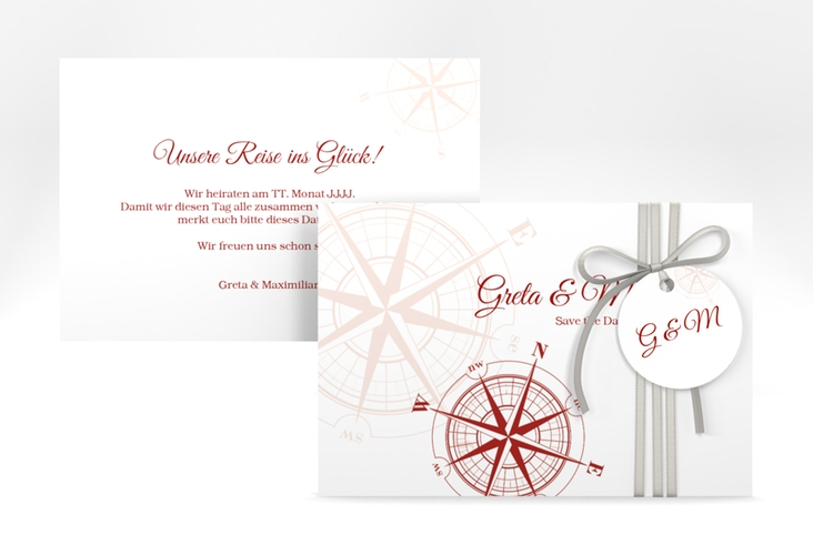 """Save the Date-Karte """"Windrose"""" A6 quer rot"""