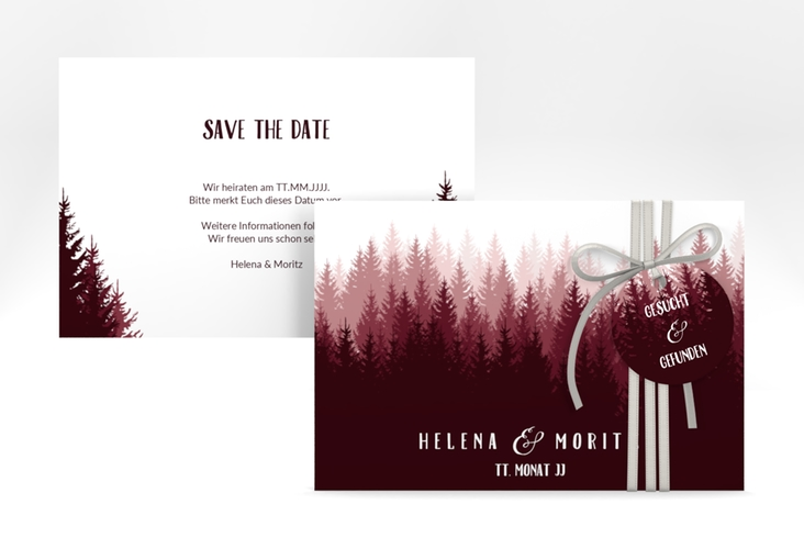 """Save the Date-Karte """"Forest"""" A6 quer rot"""